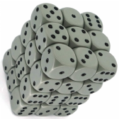 Grey & Black Opaque 12mm D6 Dice Block
